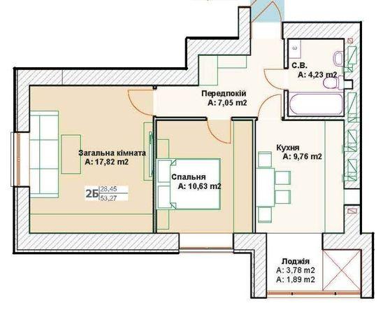 2-х комнатная квартира с Документами, средний этаж.
