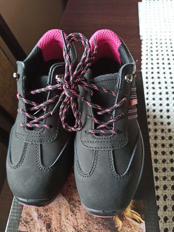 Buty robocze ochronne Urgent 214/S1 rozmiar 37 czarne różowe sznurówki