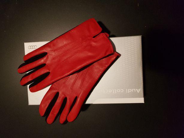 Damskie rękawice skórzane Audi Sport 7 - red/black