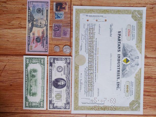 лот монеты банкноты марки акции США