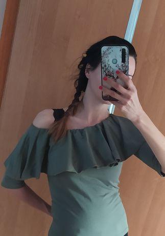 Body z falbaną w kolorze khaki rozmiar S/M, na jedno ramię