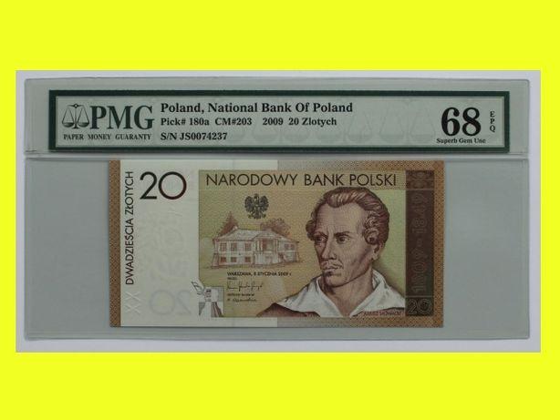 Juliusz Słowacki 20zł 20 zł banknot kolekcjonerski grading PMG 68