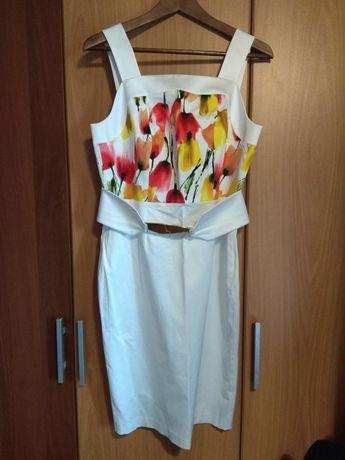 Sukienka, r. 40, M/ L, biała, kwiaty, wesele, elegancka