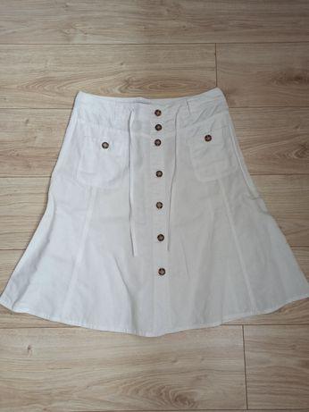 Biała lniana spódnica damska rozm M