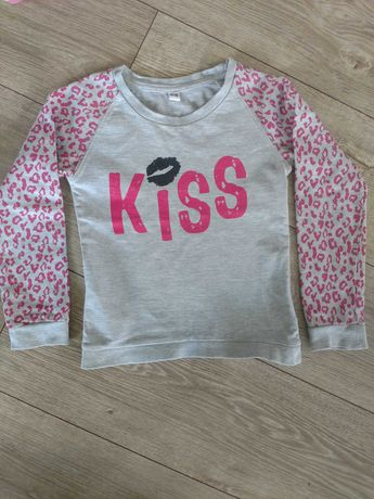 Bluza bluzka szara różowa 110 116 jak nowa z długim rękawem