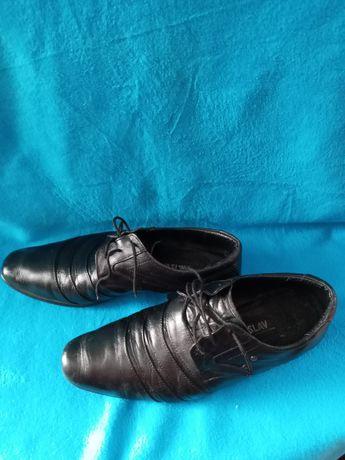 Подростковые кожанные туфли