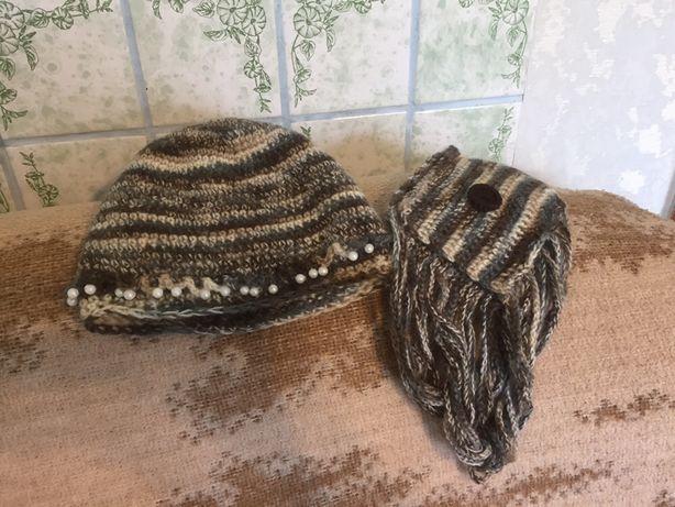 Шапка вязаная с шарфиком