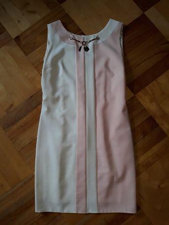 Sukienka biało- różowa L