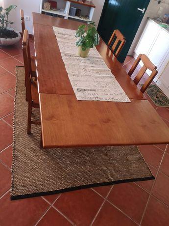 Mesa sala extensível + cadeiras