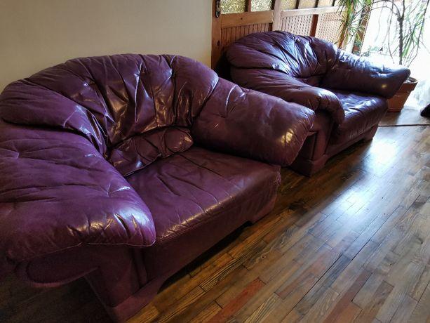 komplet mebli skórzanych - sofa i dwa fotele