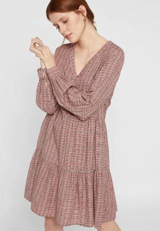 Nowa luźna sukienka koszulowa w kratkę brudny róż beżowa oversize 40 L
