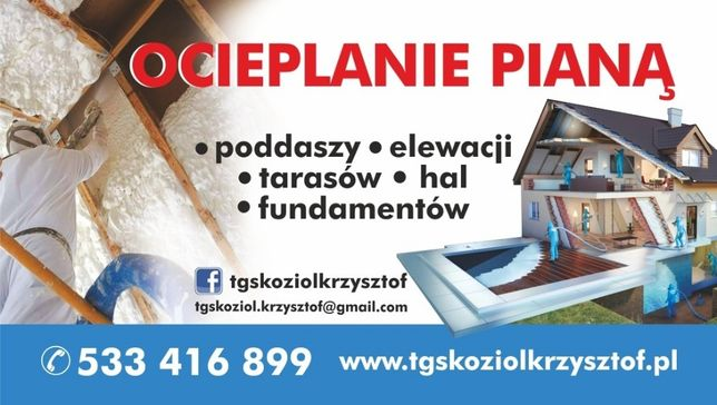 Ocieplanie poddasza pianą, Izolacje pianą, Piana PUR PROMOCJA !!!