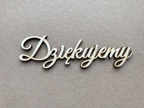 Drewniany napis dziękujemy skrapka, scrapbooking NOWY
