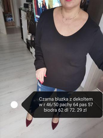 Czarna bluzka z dekoltem plus size 48/50