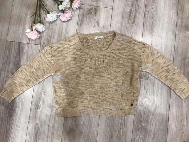 krótki sweter brązowy morelowy crop top Cropp luźny fason szeroki over