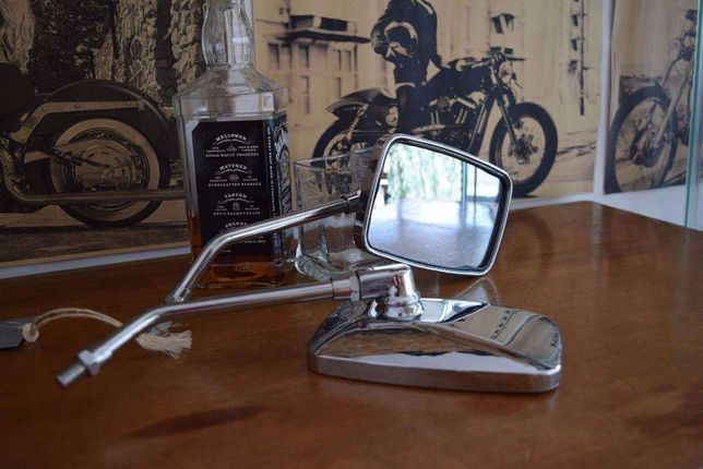Espelhos de mota ovais ou rectangulares para chopper bobber vespa