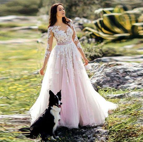 suknia ślubna cywilny rękawy róż 36 S, 46 XXXL