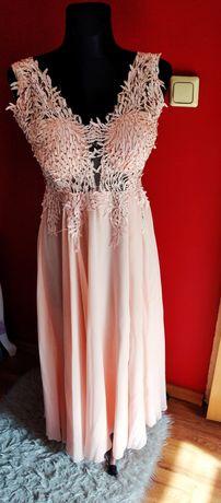 Sukienka długa pudrowy róż