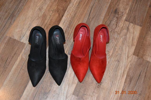 Szpilki zamszowe czarne i czerwone r. 39 10 cm