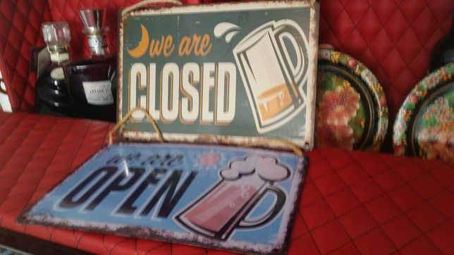 """Табличка железная """"открыто-закрыто"""" для кафе,бара,ресторана. Новая"""