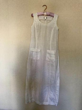Льняное белоснежное платье 100% лен