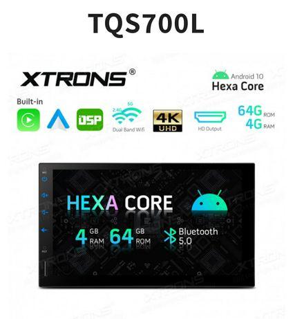 Rádio 2Din Android 10 Hexa-Core 4GB WiFi Bluetooth GPS USB DSP CarPlay