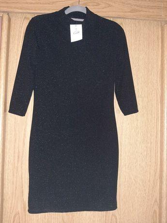 Sukienka elegancka czarna ze srebrną nitką r 38 M