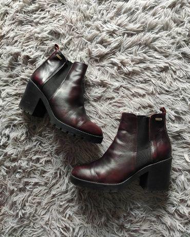 Ryłko buty botki na słupku bordowe czarne eleganckie 39