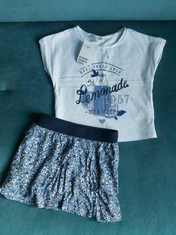 Nowy komplet H&M, rozmiar 98/104, koszulka i spódniczka