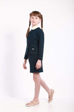 Школьная форма зеленая пиджак и юбка Piccolo L 134-140 см, 9-10 лет