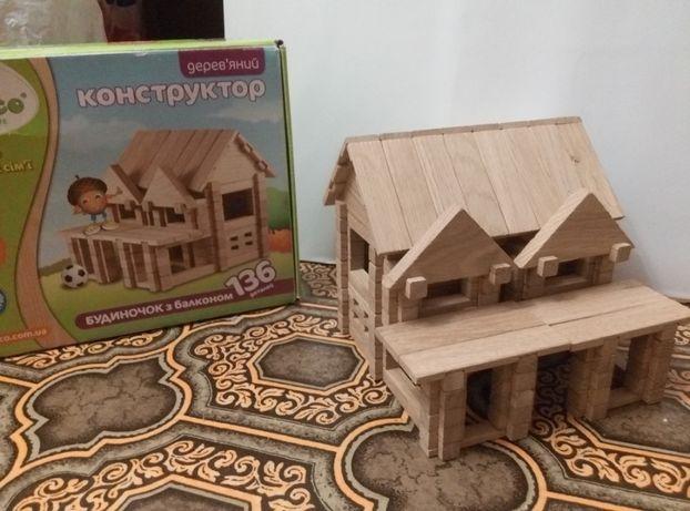 конструктор домик деревянный с балконом