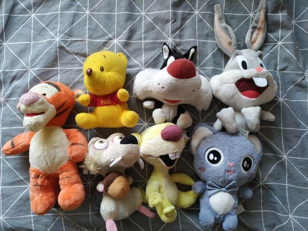 Pluszaki, różne maskotki, myszka minnie, epoka lodowcowa, miś