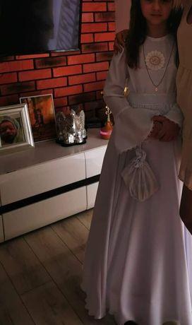Sukienka komunijna, alba, halka, wianek, buty białe 36