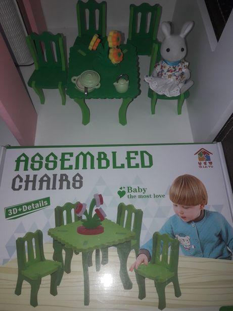 Меблі мебель кукольная игрушечная в домик конструктор стол стульчик