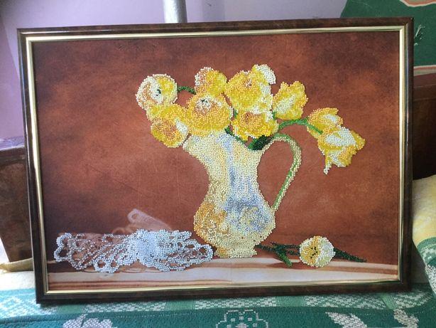Картина,желтые тюльпаны,цветы,вышивка бисером