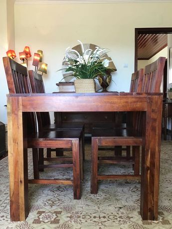 mesa, cadeiras, refeições, jantar, sala, oriental, rustico