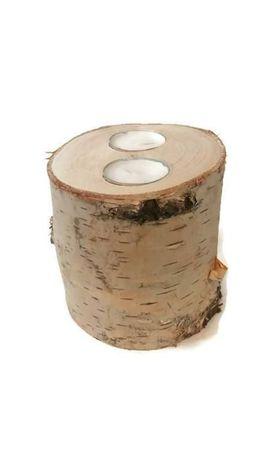 Świecznik drewniany brzoza tealight plaster drewna
