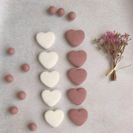 Валяные сердечки из шерсти для творчества и аксессуаров