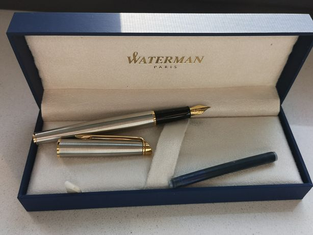 Waterman Hemisphere Fountain Pen, Stainless Steel with 23k Gold Trim