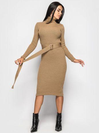 Платье вязаное платье - гольф тёплое вязаное платье миди