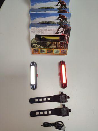 Luz led bicicleta vermelha /branca recarregável USB