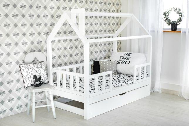 Nowe łóżko domek skandynawski, dziecięce, Kiri 5 Barierek KOLOR
