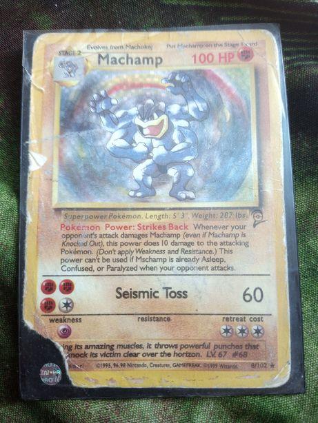 Pokemon tcg stara karta Machamp base set pierwsza seria holo zły stan