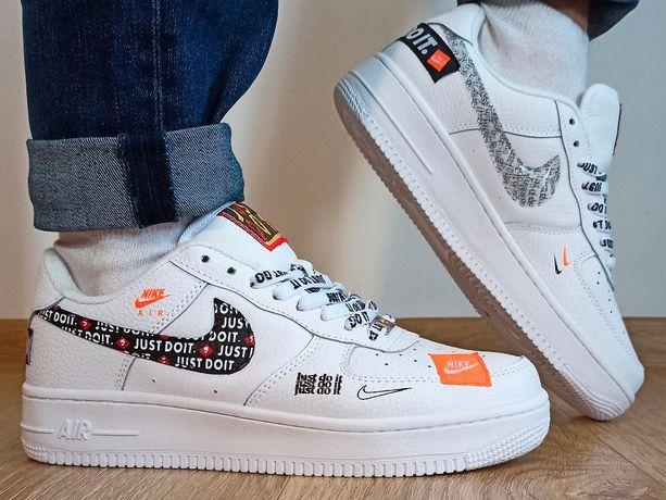 Кожа Белые Nike Air Force 1 низкие low мужские кроссовки 43 44 45 46