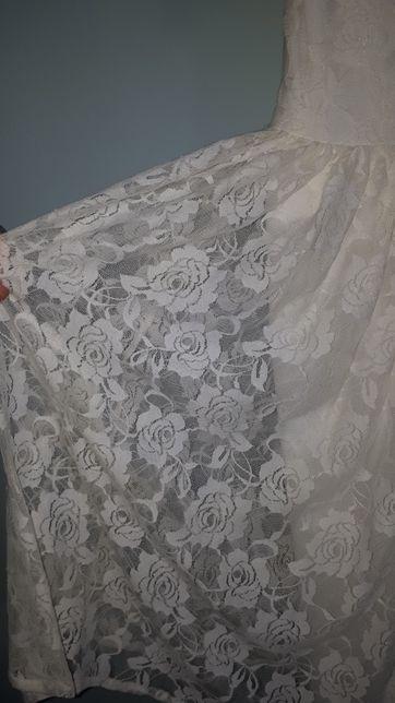 Sprzedam sukienkę ślubną - koronka w piękne róże.