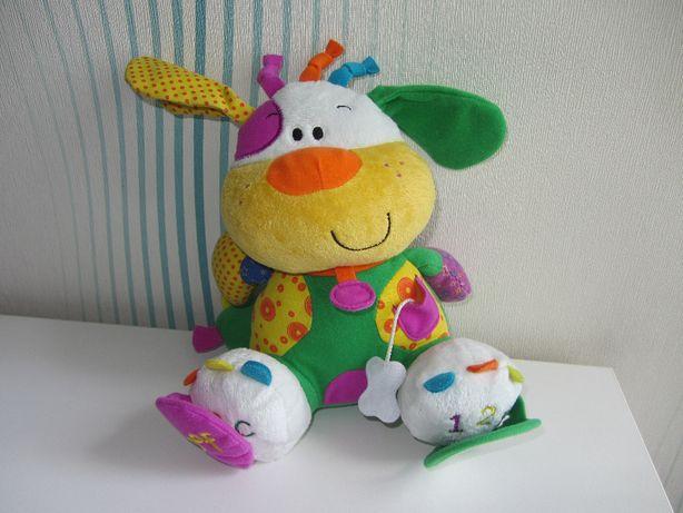 Развивающая мягкая фирменная игрушка погремушка для малышей