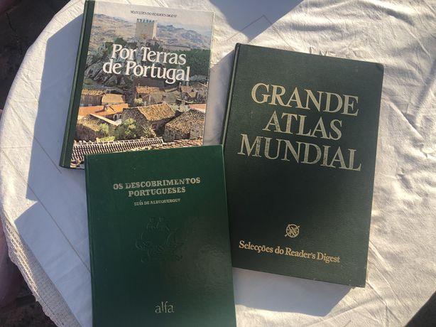 Conjunto livros historia: descobrimentos, atlas mundial, terras de pt