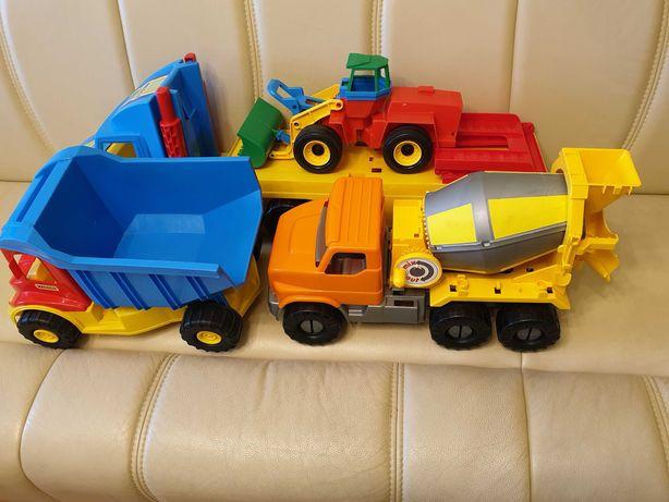 Zestaw zabawek laweta, ładowarka, betoniarka, wywrotka, statek.