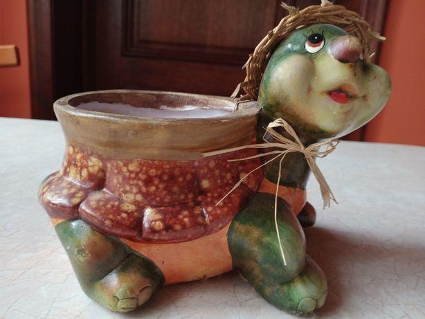 Ozdobna doniczka ceramiczna żółwik