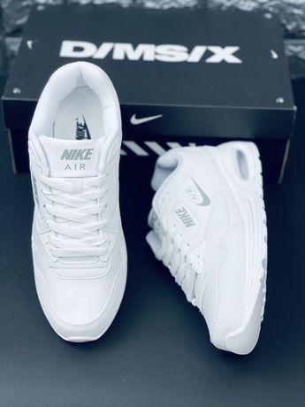 Скидка -70% Кожа! Белые оригинальные кожаные кроссовки Nike Air Max 90